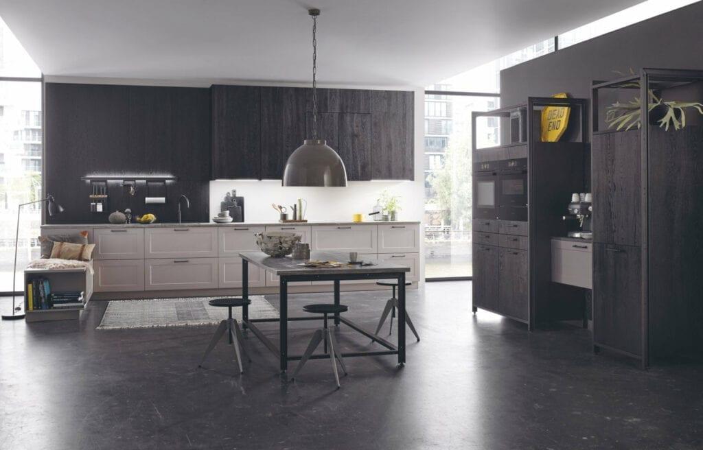 Bauformat Dark Wood Grey Shaker Open Plan Kitchen   MHK Kitchen Experts