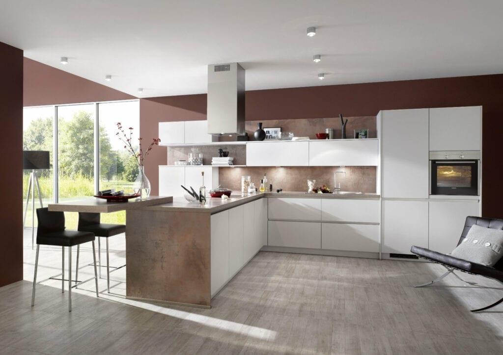 Bauformat Matt White Handleless Kitchen With Island   MHK Kitchen Experts