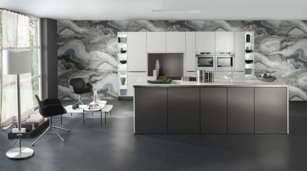 Bauformat Matt White Metallic Effect Kitchen With Island 3 | MHK Kitchen Experts