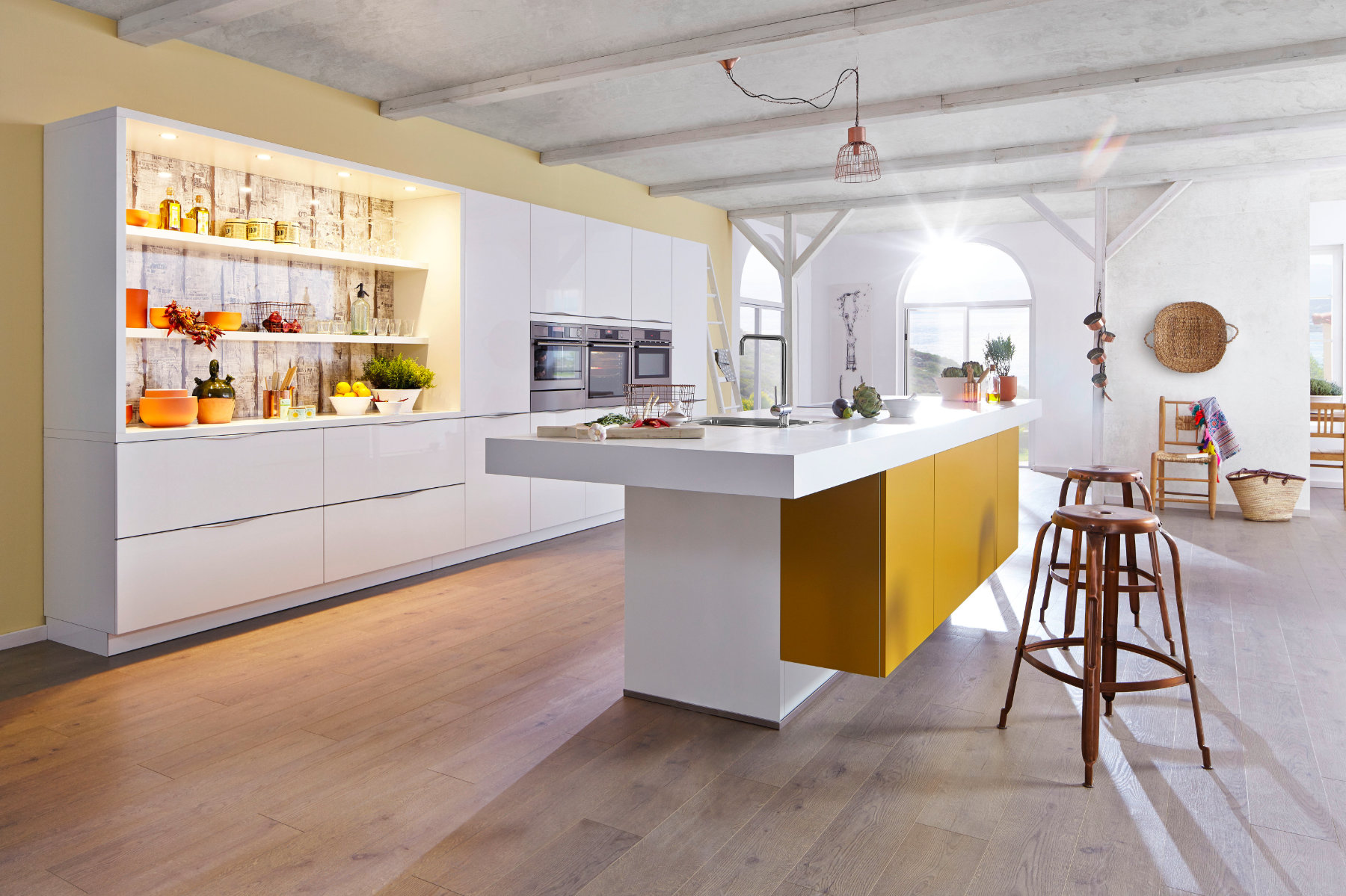 Bauformat White Gloss Mustard Open Plan Kitchen With Island 2 | MHK Kitchen Experts