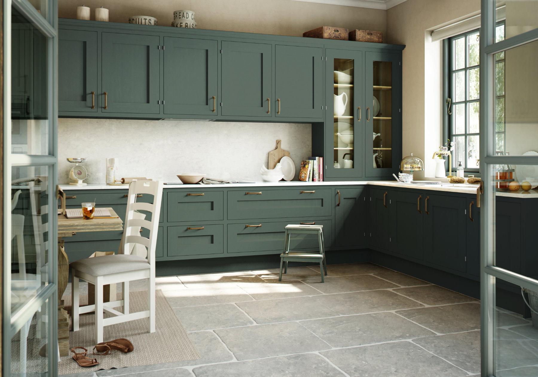 Manor Interiors Green Shaker Kitchen | MHK Kitchen Experts
