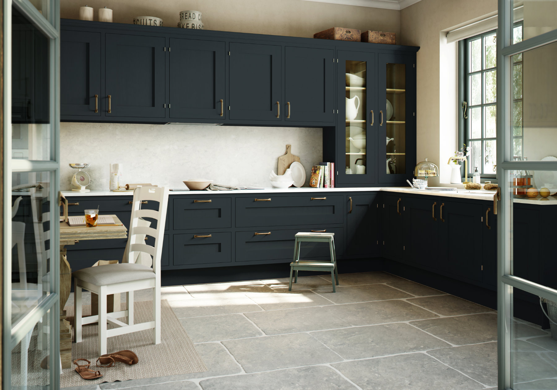 Manor Interiors Navy Shaker Kitchen | MHK Kitchen Experts