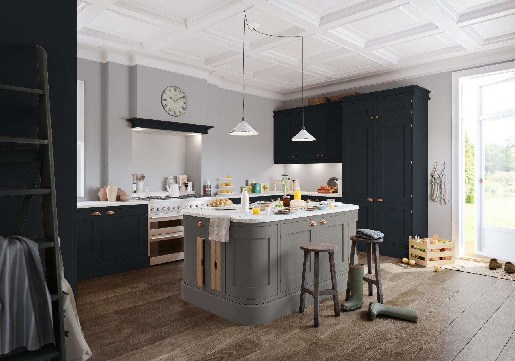 Manor Interiors Shaker L Shaped Kitchen With Island | MHK Kitchen Experts