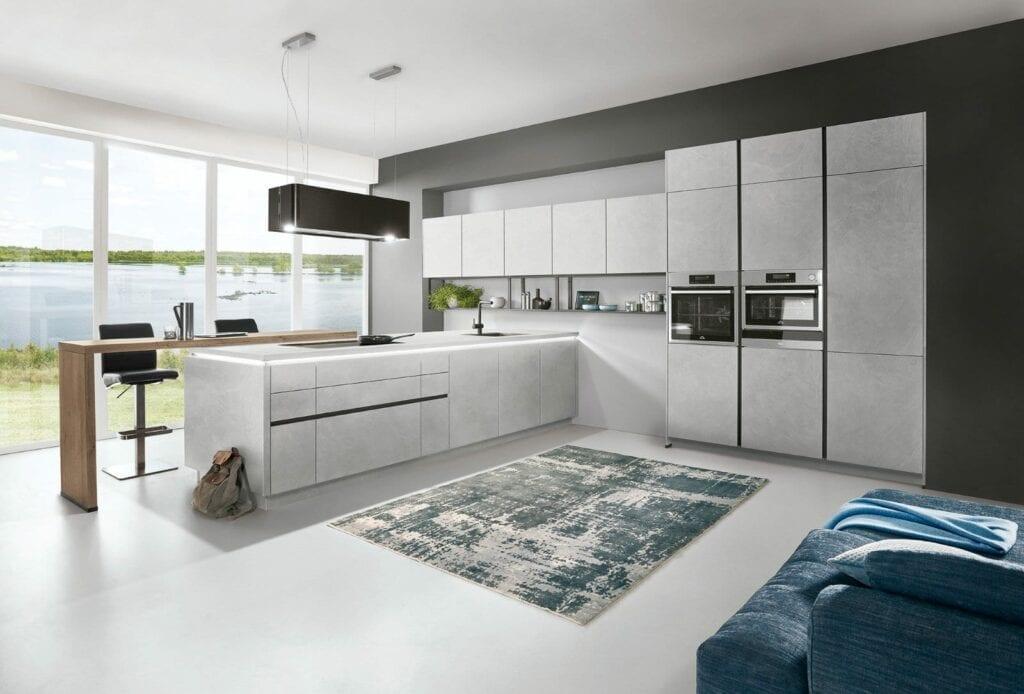 Nobilia Grey Stone Handleless Open Plan Kitchen 2021 3   MHK Kitchen Experts