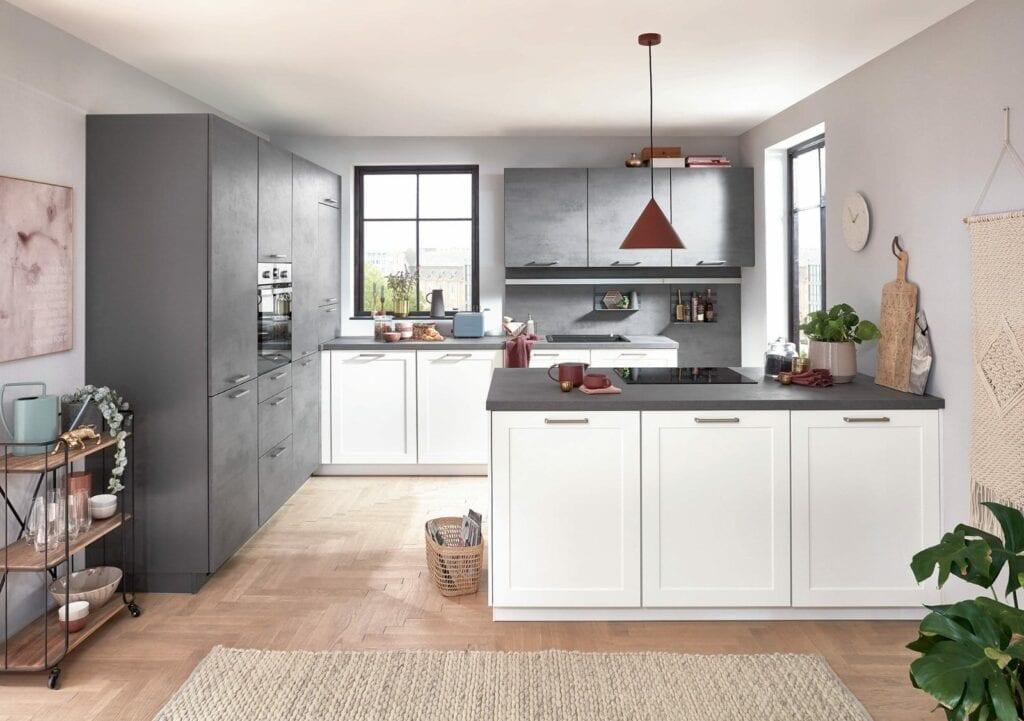 Nobilia Matt White Concrete Compact Shaker Kitchen 2021   MHK Kitchen Experts