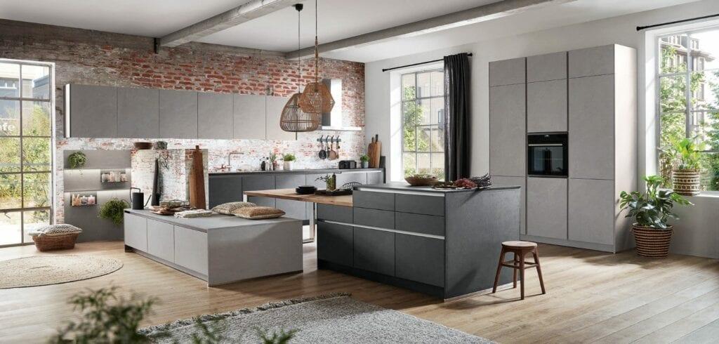 Nobilia Modern Concrete Handleless Open Plan Kitchen With Island 2021 2   MHK Kitchen Experts
