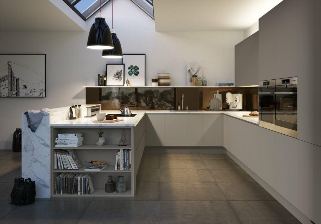 Manor Interiors U-Shaped Handleless Kitchen | MHK Kitchen Experts